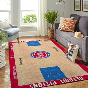 Detroit Pistons Court Area Rug, NBA Basketball Team Logo Carpet, Living Room Rugs Floor Decor 20030310