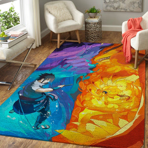Naruto vs Sasuke Area Rugs, Anime, Manga Living Room Carpet, Custom Floor Decor 6