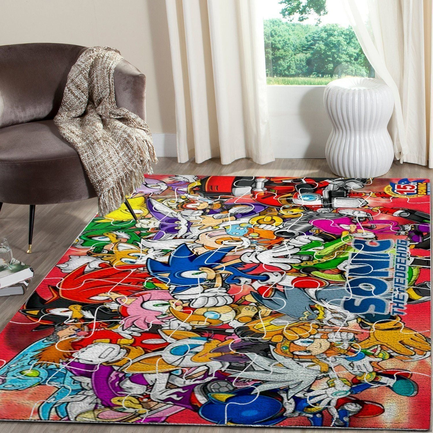 Sonic the Hedgehog Area Rug / Gaming Carpet, Gamer Living Room Rugs, Floor Decor - Characters 10112