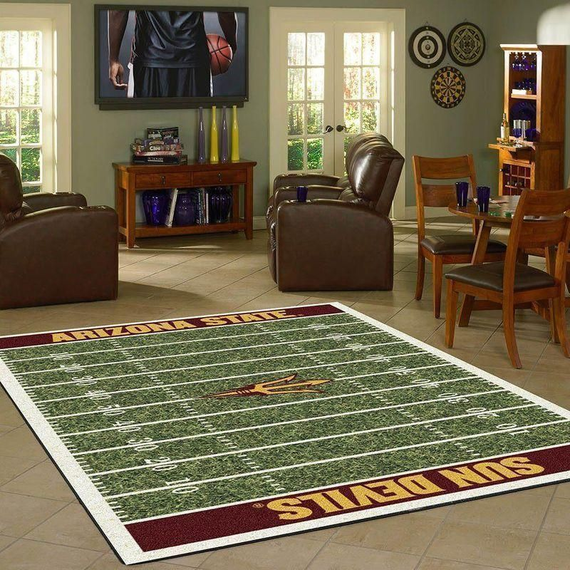 Arizona State Sun Devils Home Field Area Rug, Football Team Logo Carpet, Living Room Rugs Floor Decor F102187