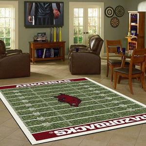 Arkansas Razorbacks Home Field Area Rug, Football Team Logo Carpet, Living Room Rugs Floor Decor F102169