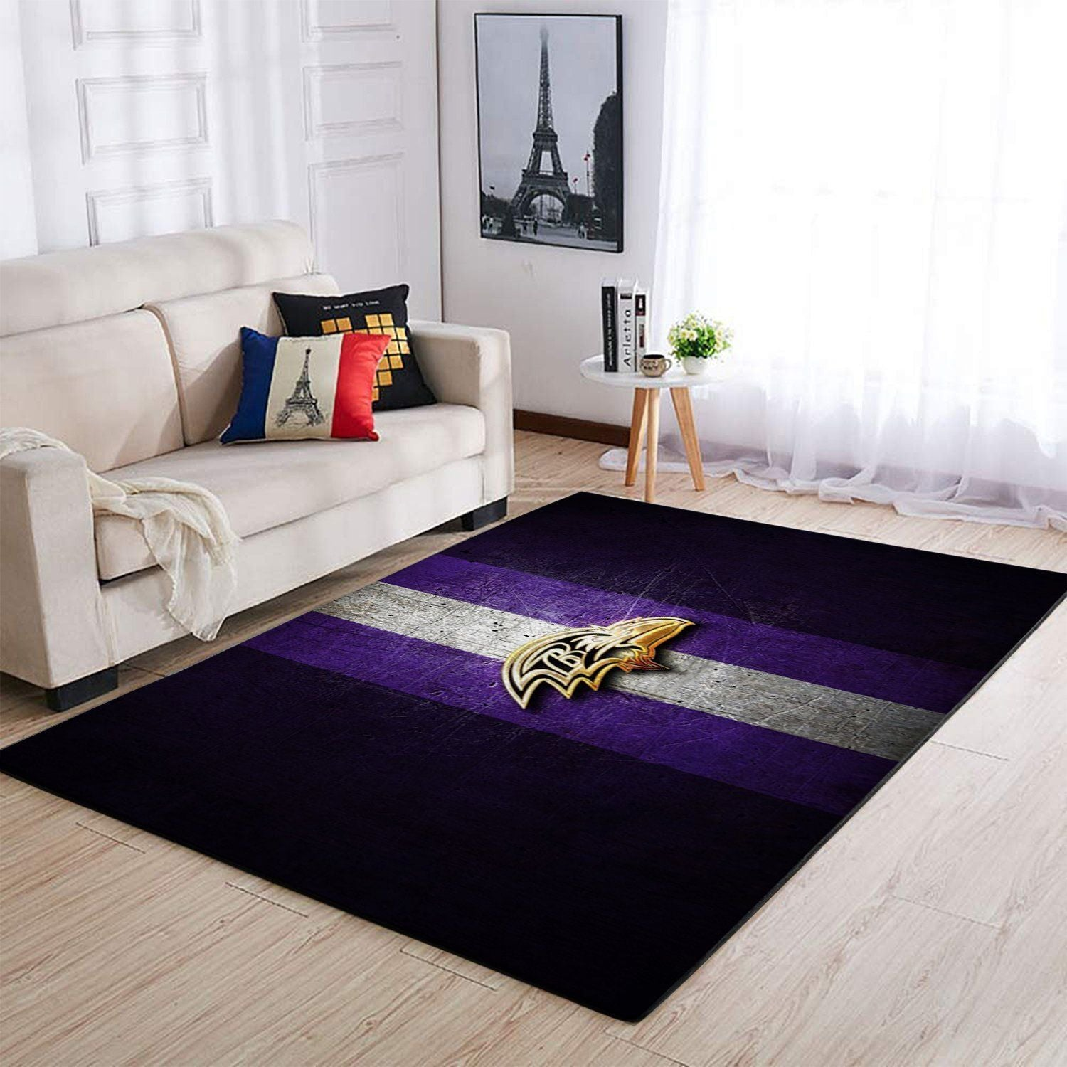 Baltimore Ravens Area Rug, NFL Football Team Logo Carpet, Living Room Rugs Floor Decor 1910074