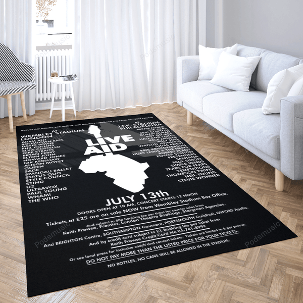 LIVE AID Artwork Black - Music Art For Fans Area Rug Living Room Carpet Floor Decor