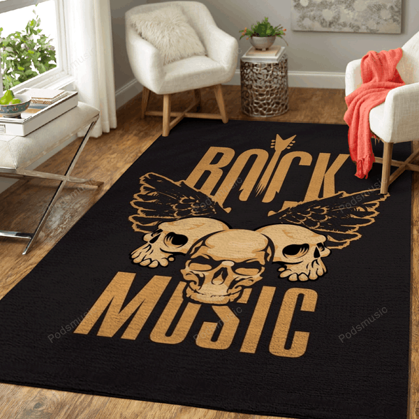 Rock Music Skulls - Music Art For Fans Area Rug Living Room Carpet Floor Decor