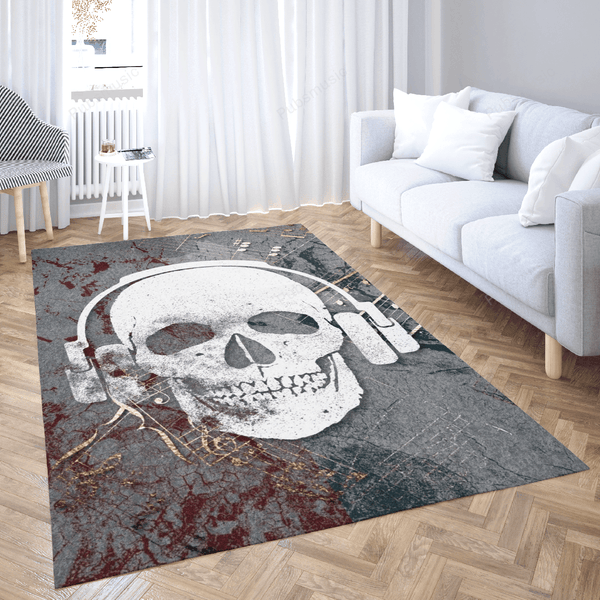 Skull Headphones Music 1 - Misc Art For Fans Area Rug Living Room Carpet Floor Decor