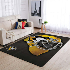 Pittsburgh Penguins NHL Area Rugs Team Logo Mask Style Living Room Carpet Sports Floor Decor