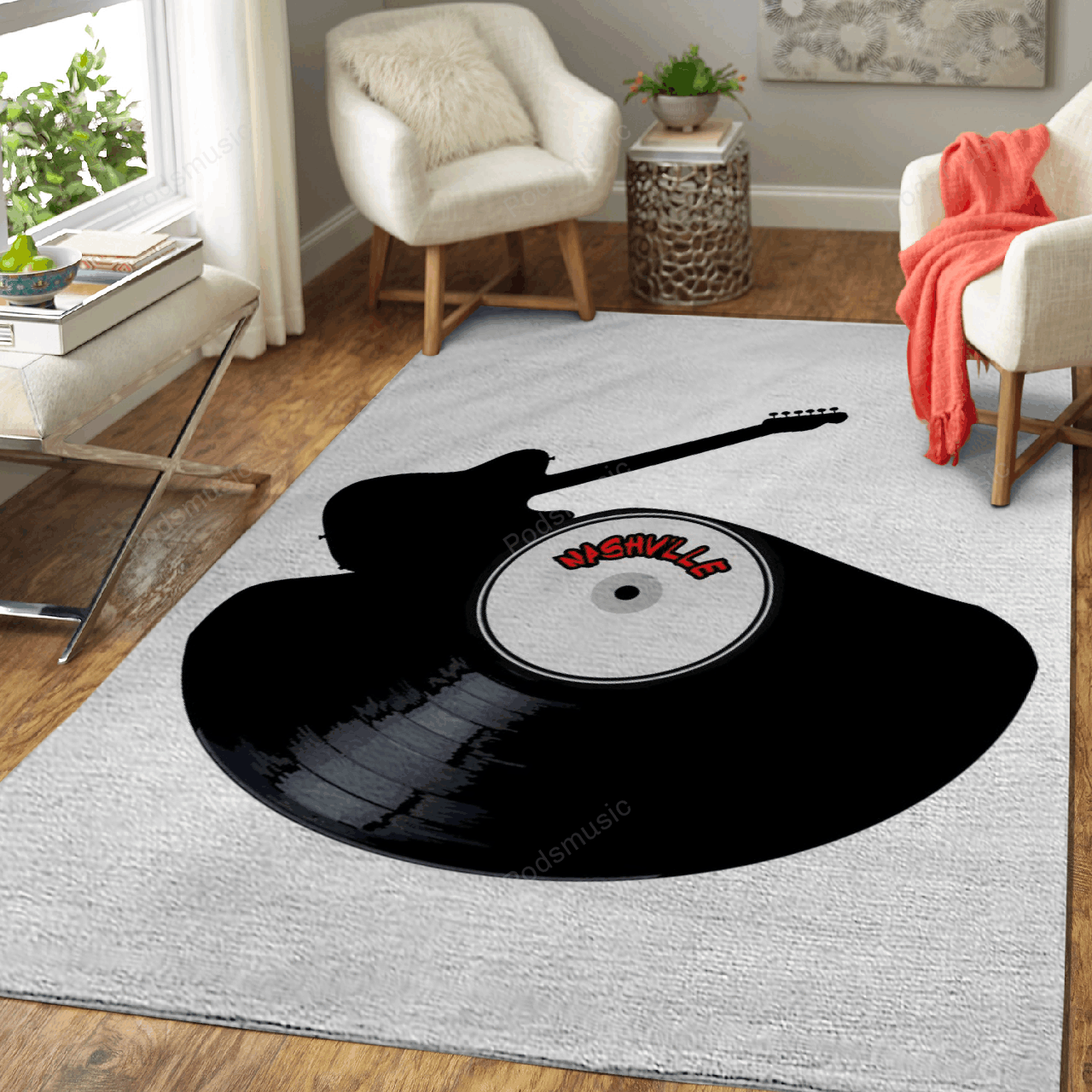 Nashville Country Music - Musical Art For Fans Area Rug Living Room Carpet Floor Decor