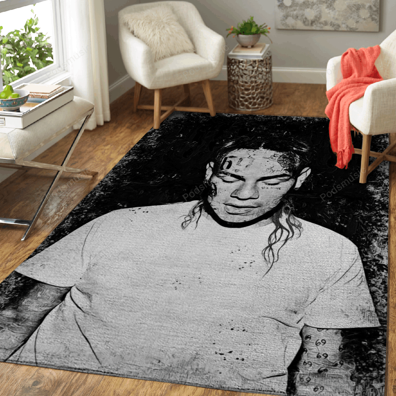 Music Monochrome Art For Fans Area Rug Living Room Carpet Floor Decor