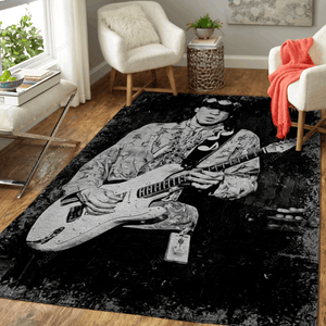 stevie rey vaughan - Music Monochrome Art For Fans Area Rug Living Room Carpet Floor Decor