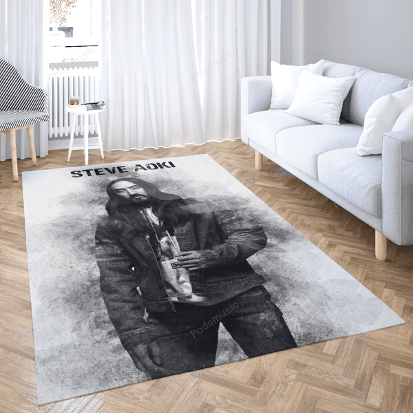 STEVE AOKI - Music Monochrome Art For Fans Area Rug Living Room Carpet Floor Decor