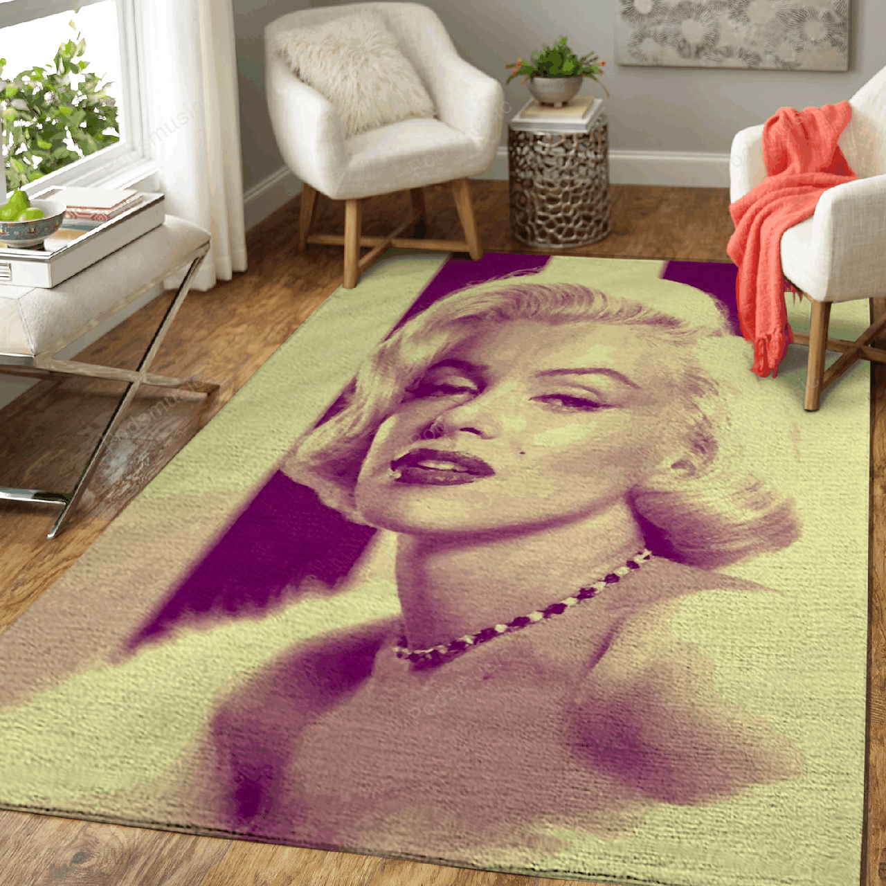 Monroe - Music Vintage Art For Fans Area Rug Living Room Carpet Floor Decor