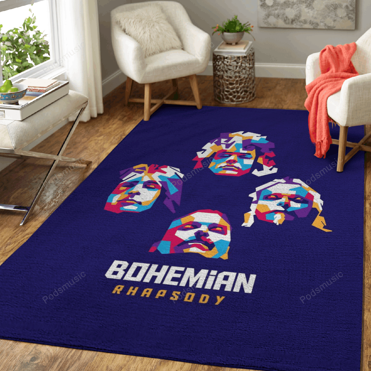 Queen Bohemian Rhapsody  - Music Art For Fans Area Rug Living Room Carpet Floor Decor