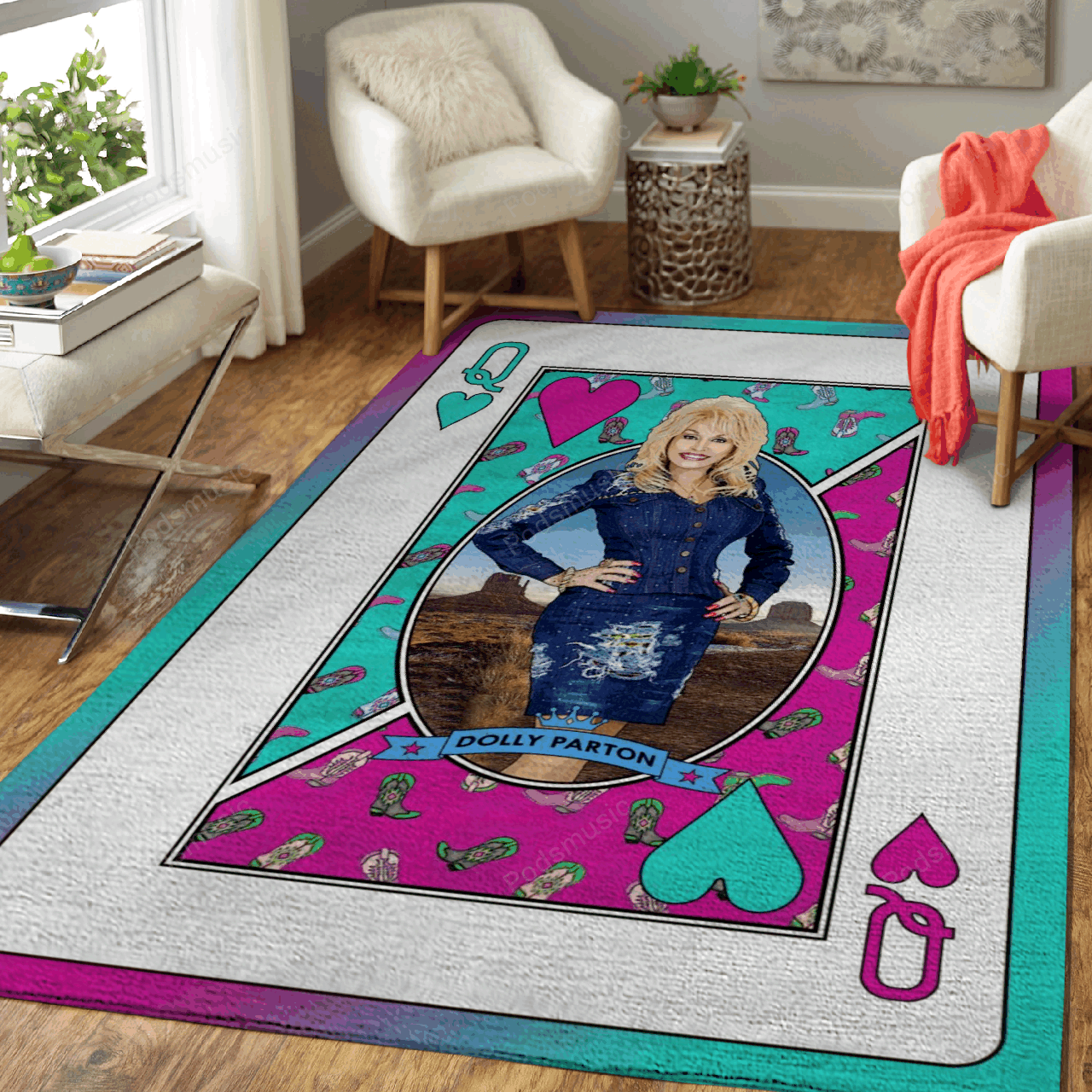 Queen Dolly Parton - Queens Of Music Art For Fans Area Rug Living Room Carpet Floor Decor