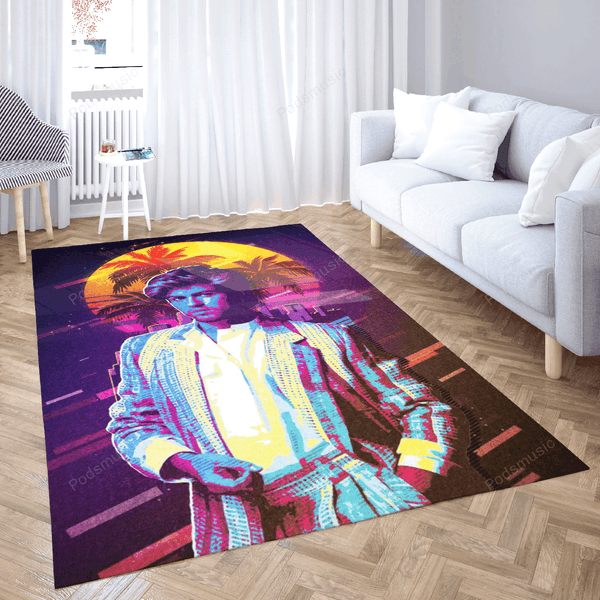 michael george - Artwork Music Synthwave 80S Art For Fans Area Rug Living Room Carpet Floor Decor