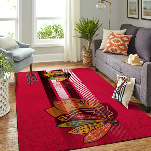 Chicago Blackhawks NHL Team Logo New Style Nice Gift Home Decor Rectangle Area Rug