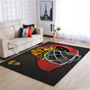 Chicago Blackhawks NHL Team Logo Mask Style Nice Gift Home Decor Rectangle Area Rug