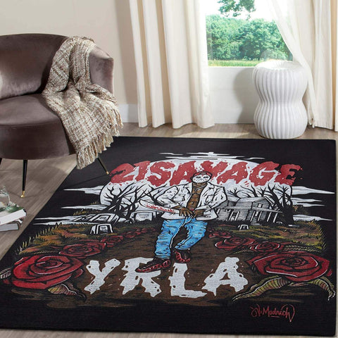 21 SAVAGE Rapper Area Rugs Living Room Carpet Christmas Gift Floor Decor RCDD81F33055