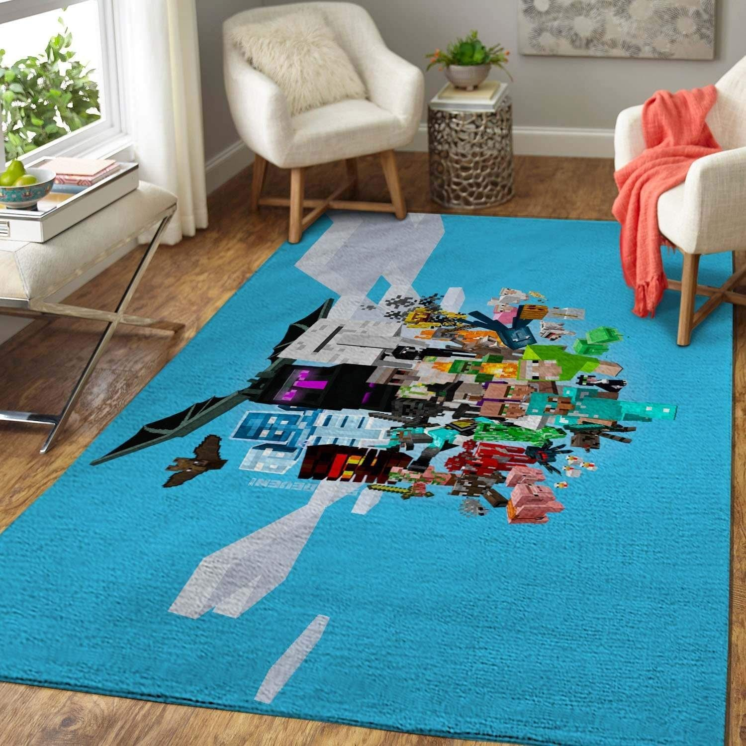 Minecraft Area Rug - Gaming Home Decor - HomeBeautyUS