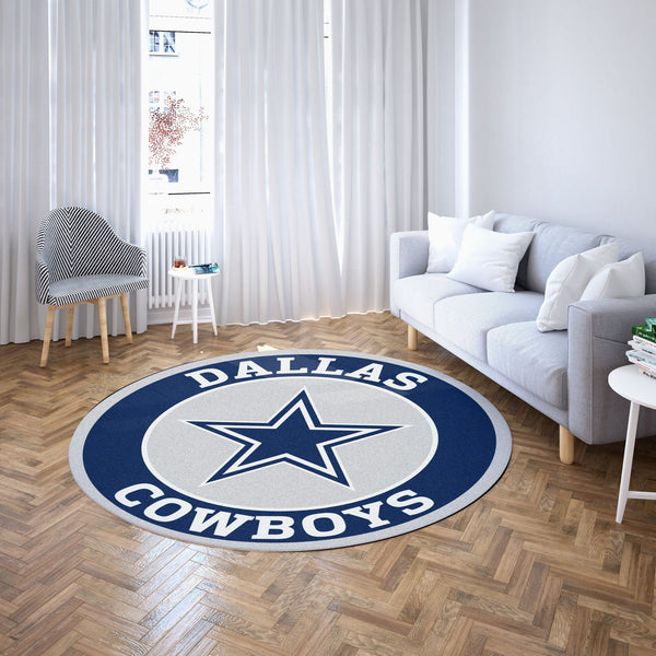 Dallas Cowboys Round Carpet / NFL Football Team Logo Living Room Floor Decor