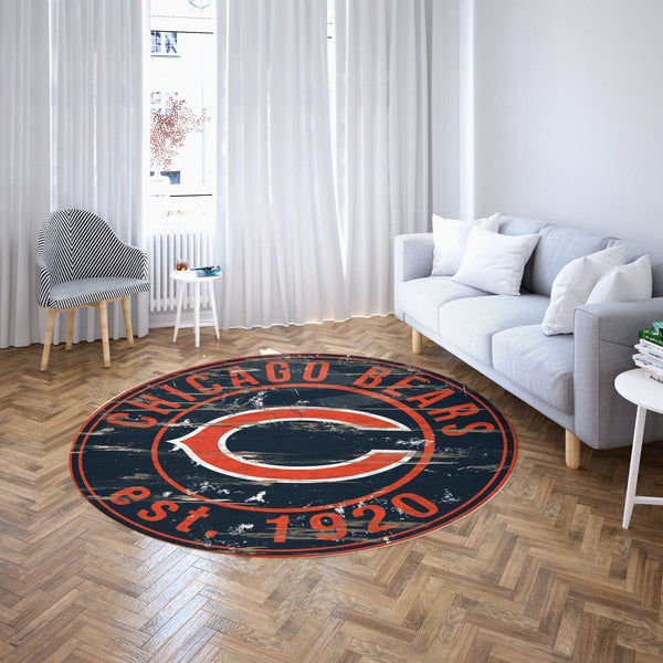 Chicago Bears Round Carpet / NFL Football Team Logo Living Room Floor Decor