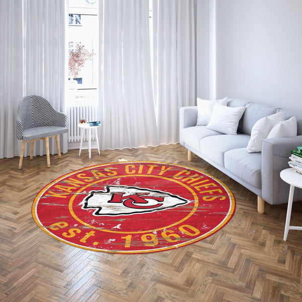 Kansas City Chiefs Round Carpet, NFL Football Team Logo Living Room Floor Decor