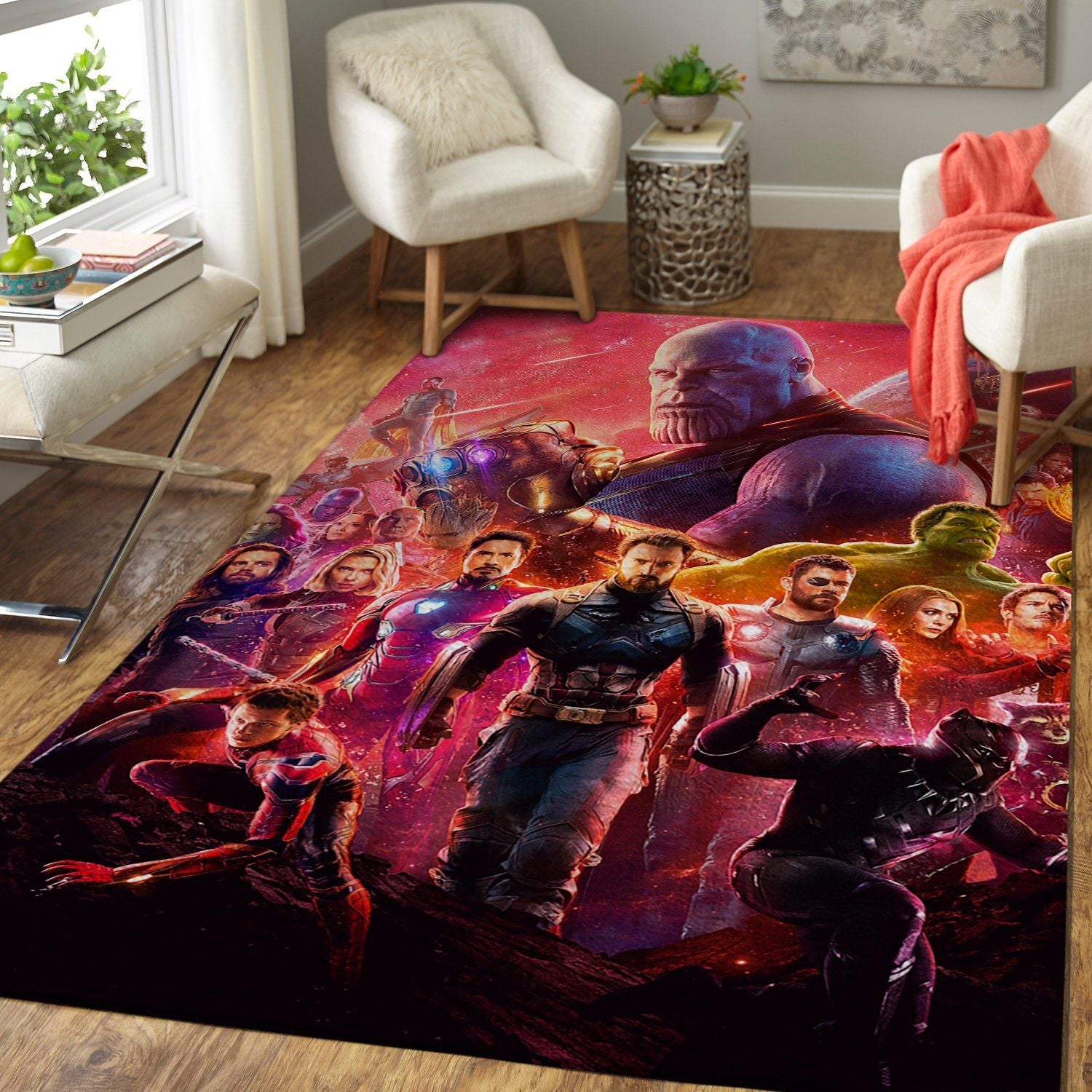 Marvel Superhero Area Rug / Avengers Infinity War Movie  Floor Decor 190831