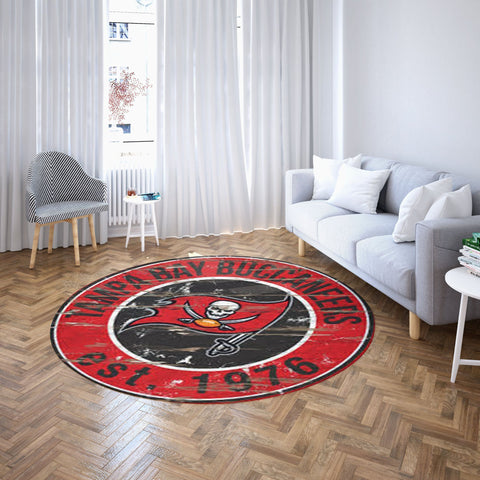 Tampa Bay Buccaneers Round Carpet, NFL Football Team Logo Living Room Floor Decor