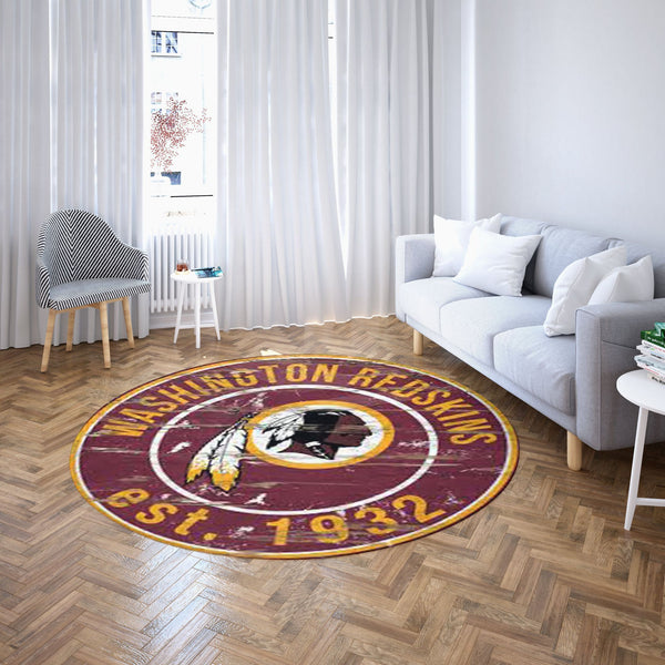 Washington Redskins Round Carpet, NFL Football Team Logo Living Room Floor Decor