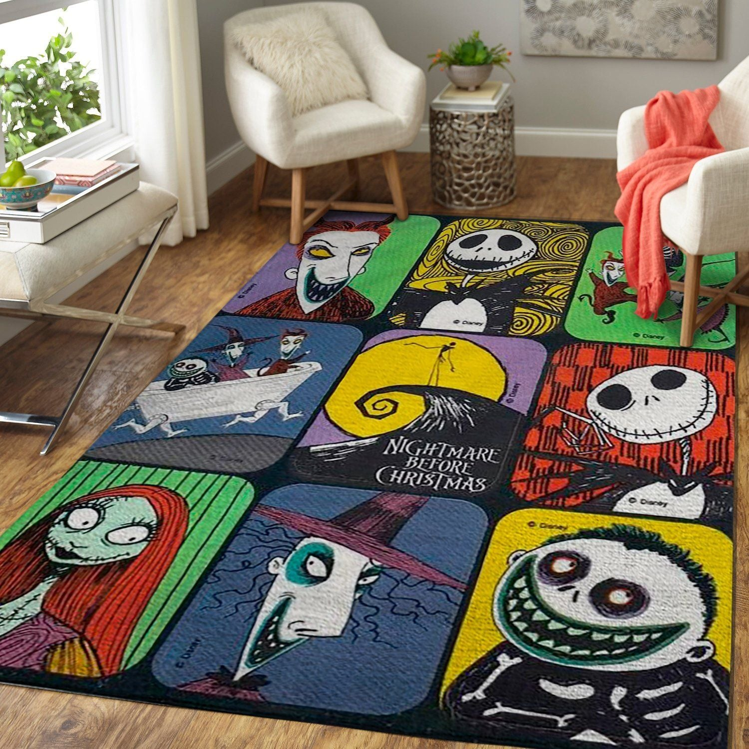 The Nightmare Before Christmas Movie Characters Area Rug Floor Decor -Halloween Special