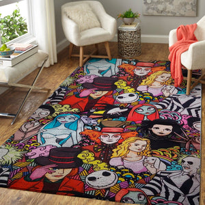 Tim Burton Characters Rug, Halloween Christmas Floor Decor