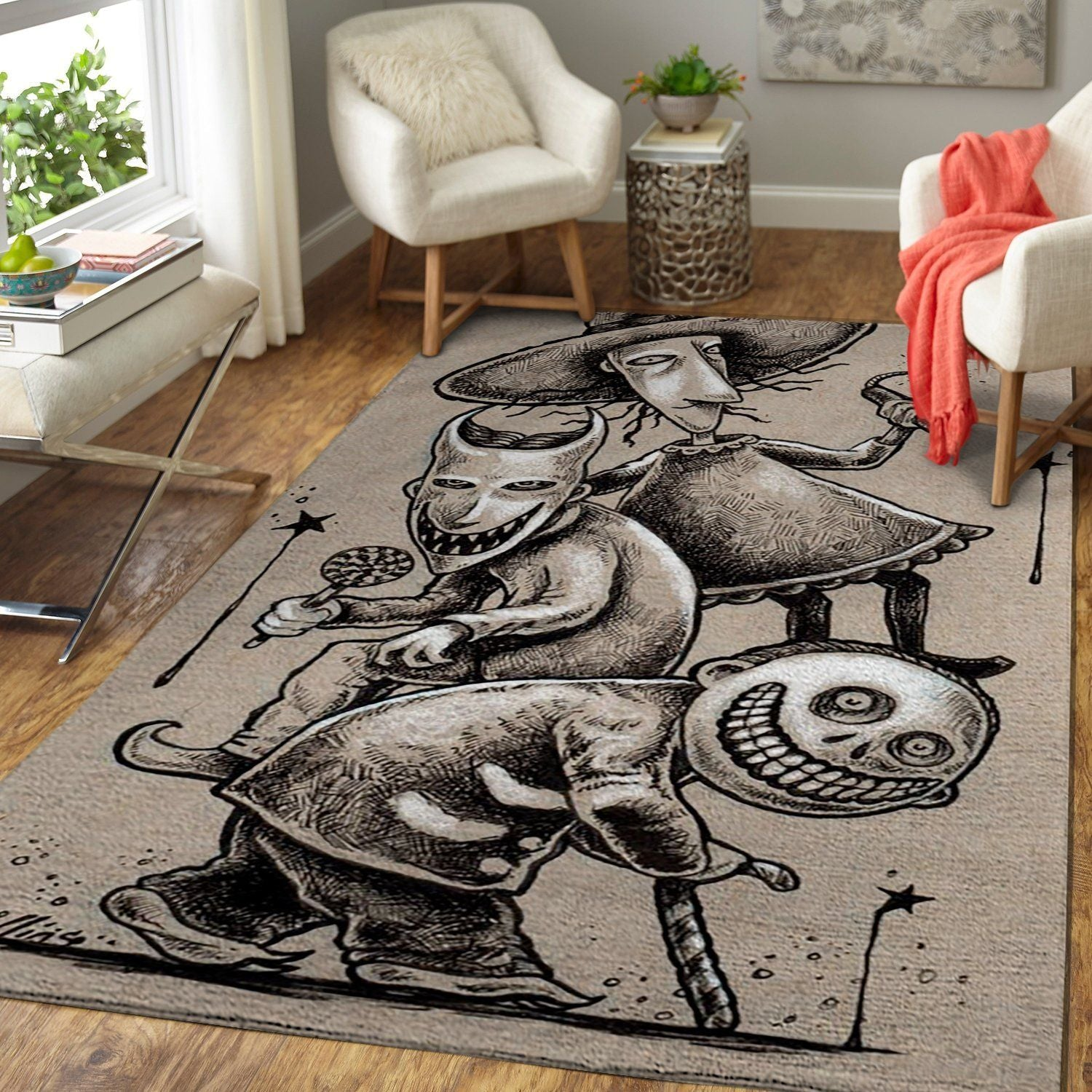 The Nightmare Before Christmas Area Rug, Lock, Shock & Barrel - Oogie's Boys Living Room Decor