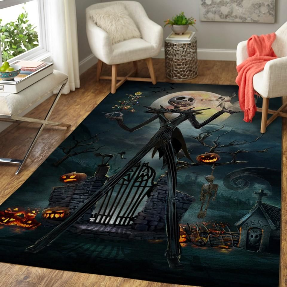 The Nightmare Before Christmas Movie - Jack Skellington - Halloween Area Rug Floor Decor
