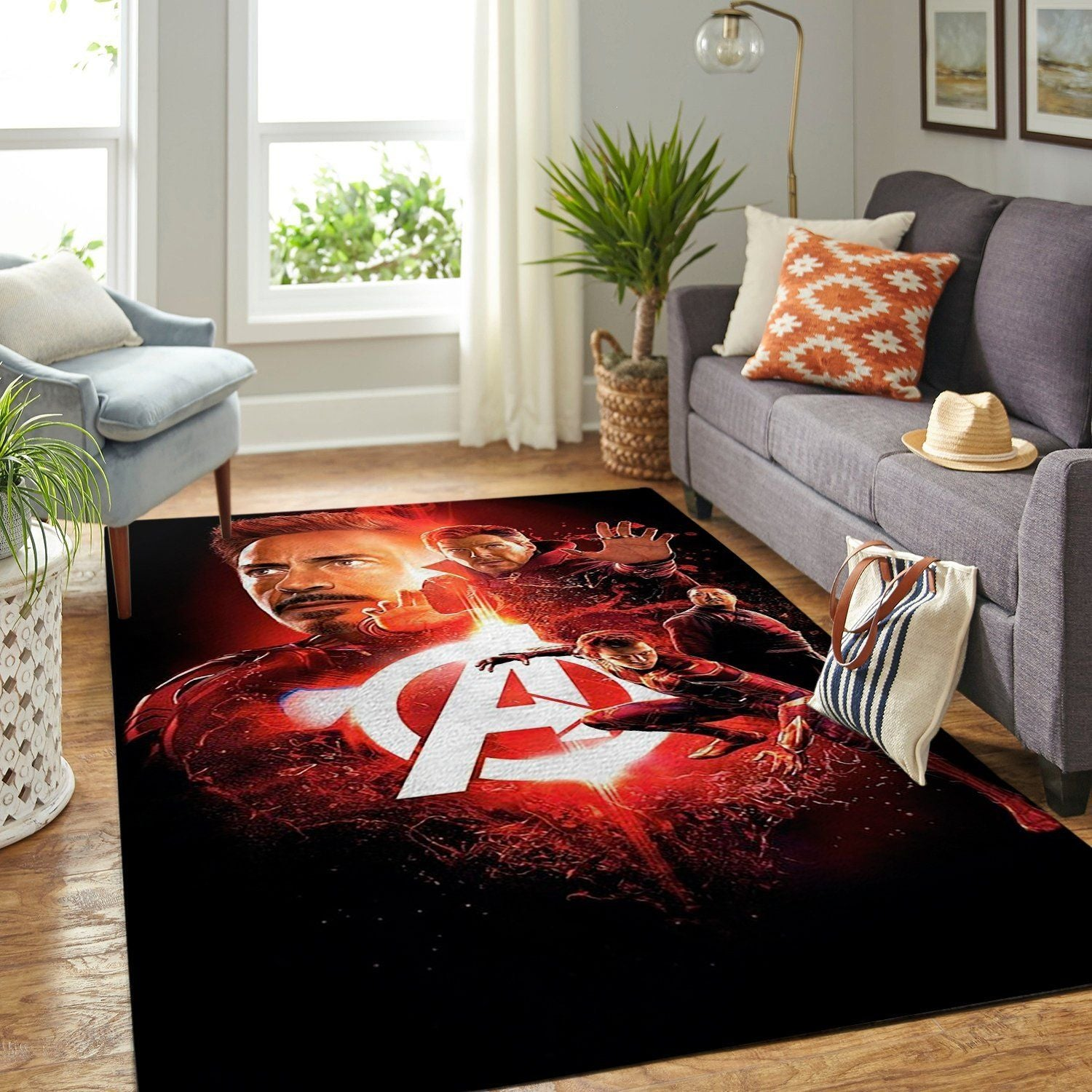 Marvel Superhero Area Rug, Red Avengers / Movie Floor Decor RA0826