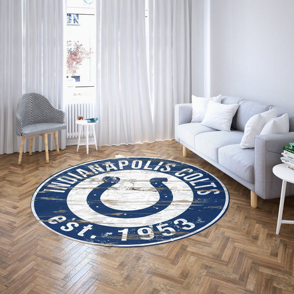 Indianapolis Colts Round Carpet, NFL Football Team Logo Living Room Floor Decor