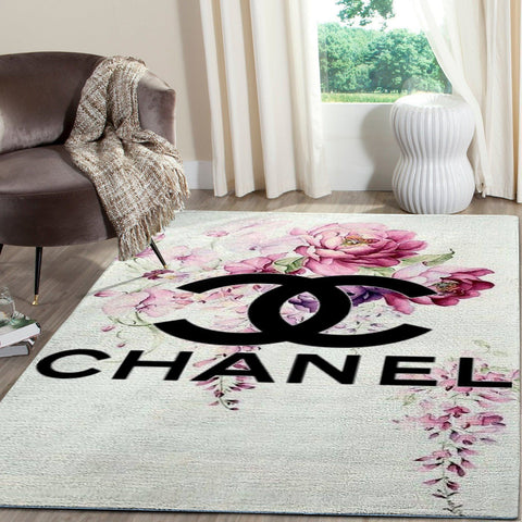 Chanel Area Rug, Flowers Hypebeast Fashion Brand Living Room Carpet, Floor Decor 081111