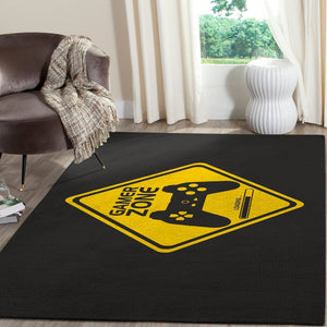 Gamer Area Rug / Gaming GFD in Black & Yellow 02114