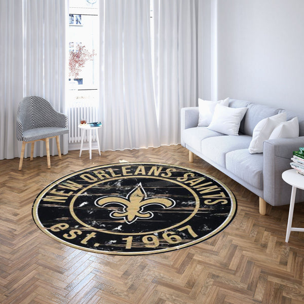 New Orleans Saints Round Carpet - NFL Football Team Logo Living Room Floor Decor