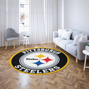 Pittsburgh Steelers Round Carpet / NFL Football Team Logo Living Room Floor Decor