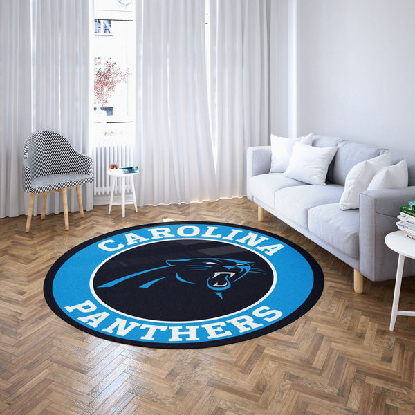 Carolina Panthers Round Carpet, NFL Football Team Logo Living Room Floor Decor