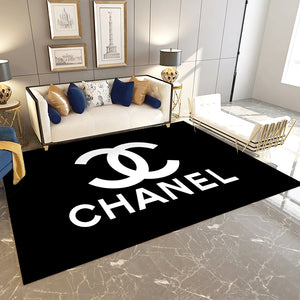 Chanel Inspired Rugs, Black & White Hypebeast Living Room Carpet