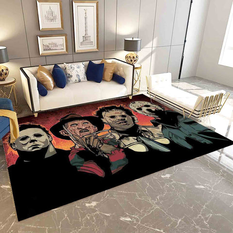 Horror Characters Area Rug, Michael Myers, Freddy Krueger, Leatherface & Jason Voorhees Living Room Carpet