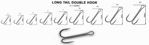 Hameçon double CRAZY FISH Long Tail Double Hook (sachet) - BS Fishing