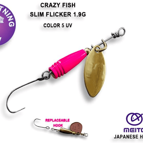 Cuillère tournante CRAZY FISH Slim Flicker 1.9g - BS Fishing