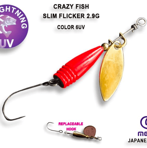 Cuillère tournante CRAZY FISH Slim Flicker 2.9g - BS Fishing