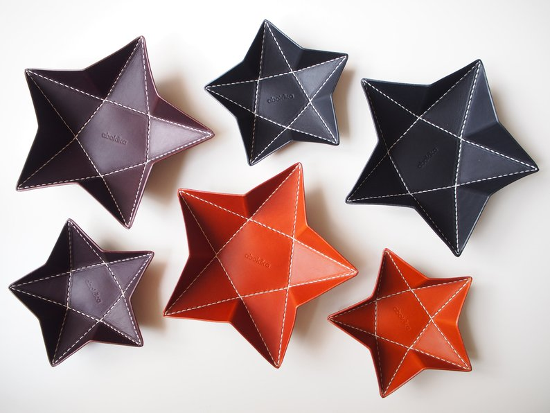 Origami Star Tray -  Set of Two / Black