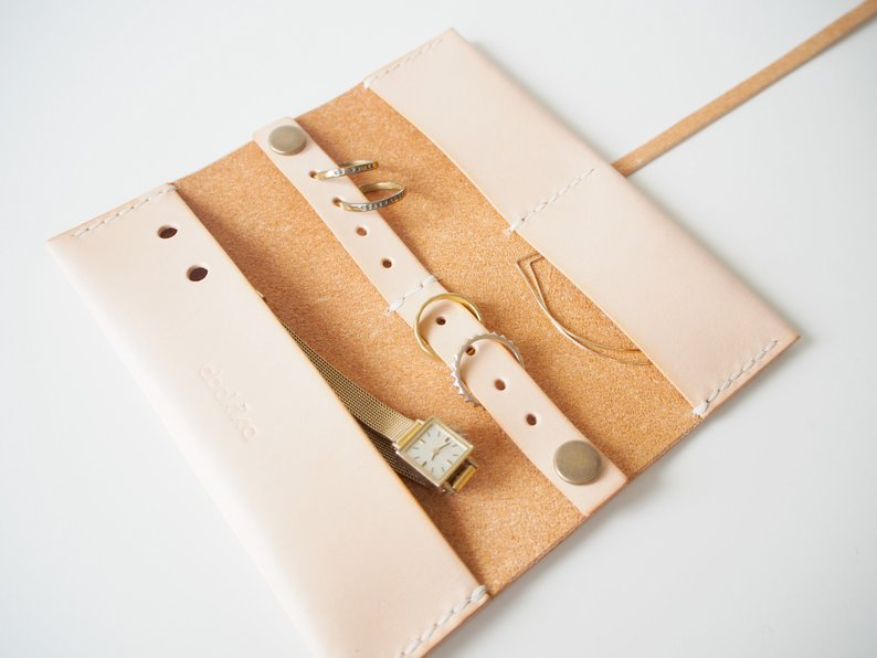 Travel Jewellery Roll - Natural