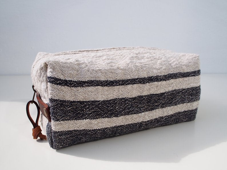 Linen Wash Bag (M) - Black Three Stripe