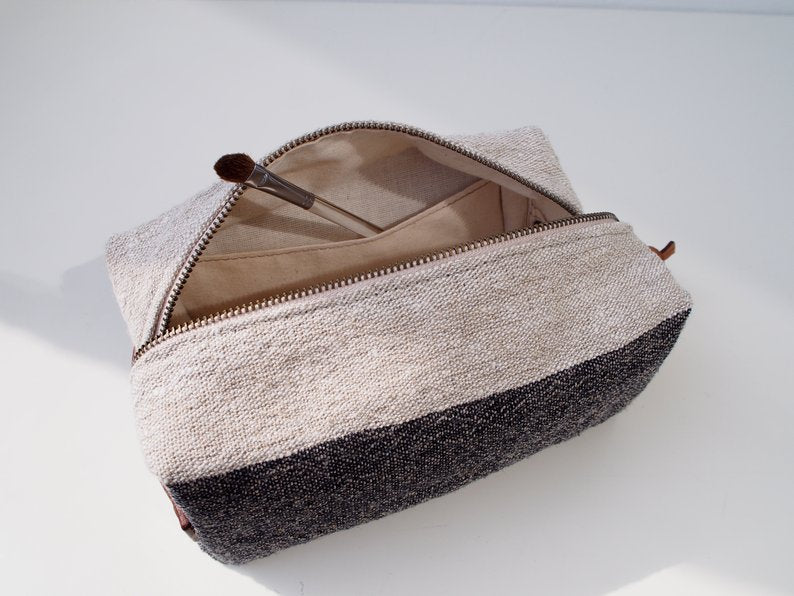 Linen Wash Bag (M) - Black Big Stripe