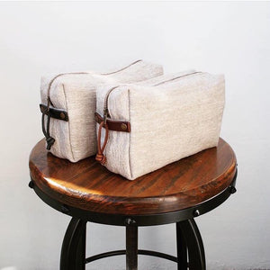 Linen Wash Bag (L) - Plain / Brown Leather