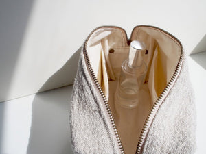 Linen Wash Bag (L) - Plain / Natural Leather